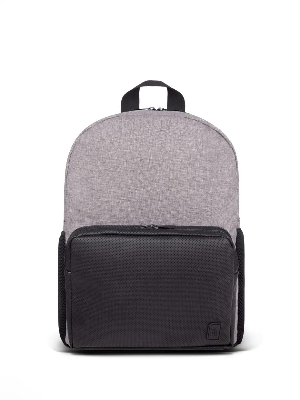 Рюкзак SOFT c перфорированым карманом с черной эко-кожи | серый меланж 4/19
