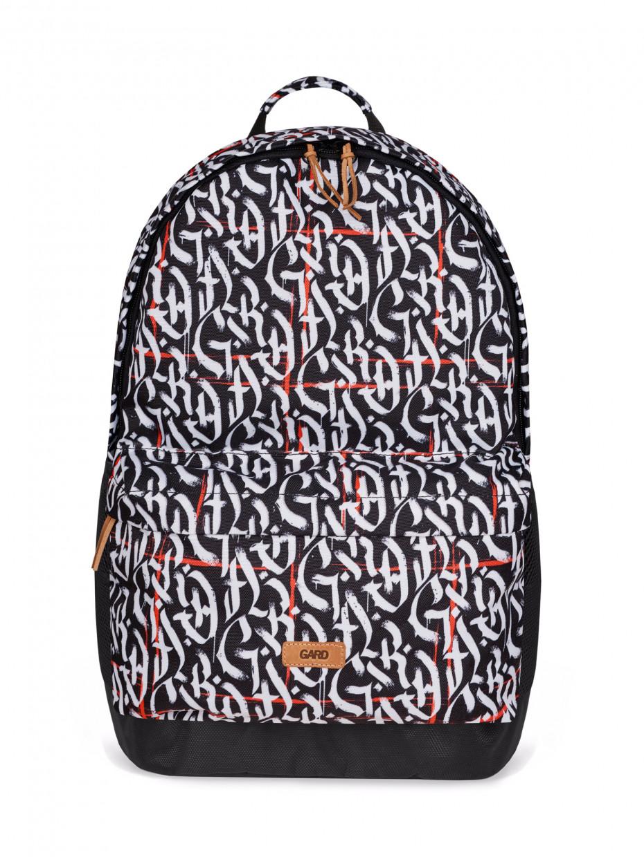Рюкзак BACKPACK-2 | біла каліграфія з червоними лініями 4/20