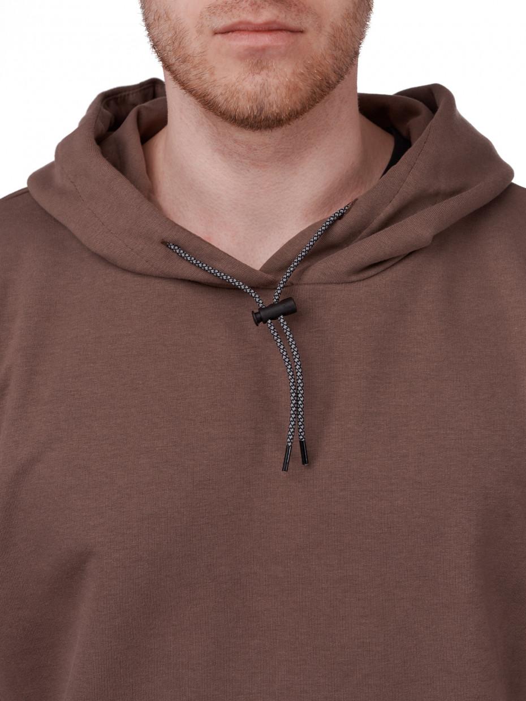 Мужское худи оверсайз с рефлективным шнурком | коричневый 2/21