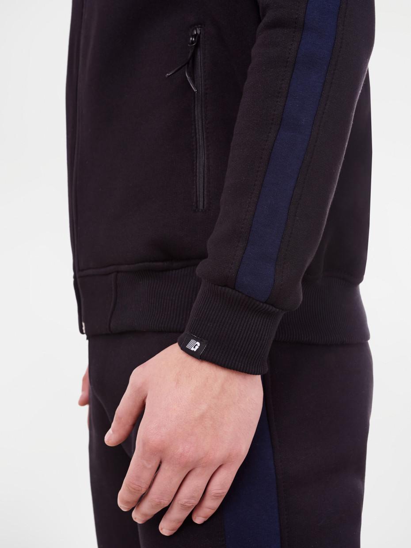Олимпийка fleece | черная с синими вставками 4/19