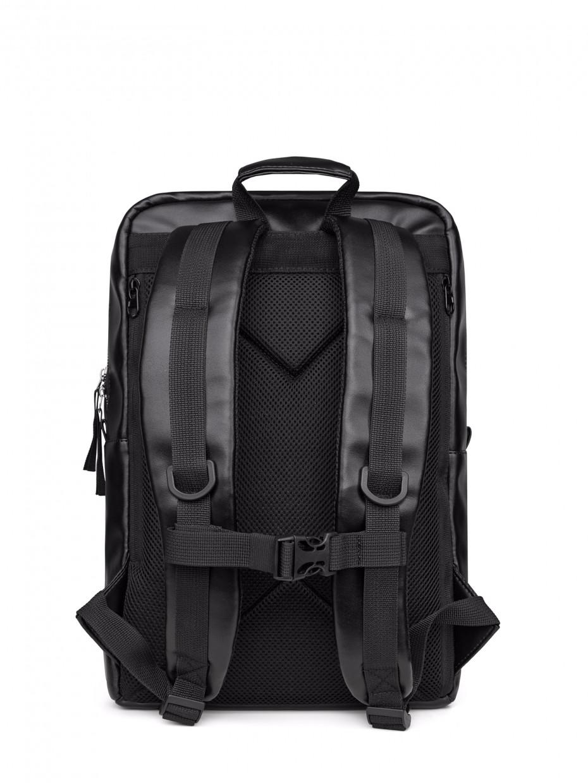 Рюкзак MCM с карманом на магнитах | эко-кожа черная 1/21
