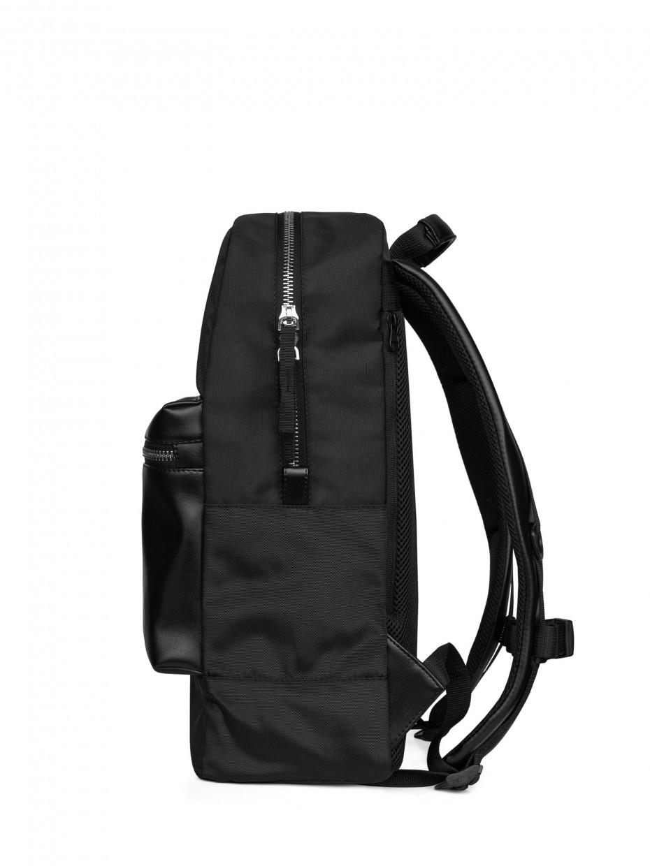 Рюкзак PLEIN с карманом из эко-кожи | черный 1/21