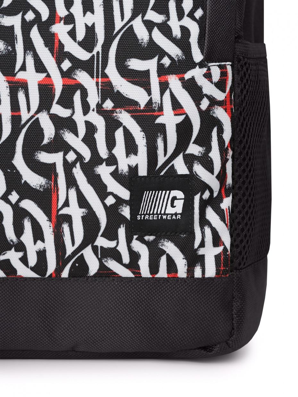 Рюкзак SPORT | белая каллиграфия с красными линиями 3/20