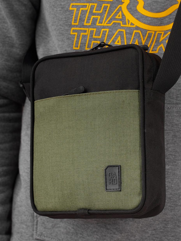 Сумка CORDURA 1000D MESSENGER MINI-3   чорний з карманом хакі 1/20